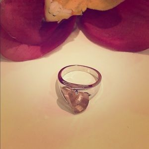 Pink crystal & silver ring